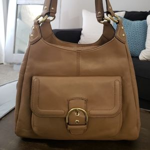 COACH Campbell Edie Hobo Bag - Tan Peebled Leather